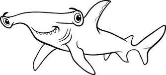 hammerhead shark clipart black and white. Plain Hammerhead Black And White Cartoon Illustration Of Hammerhead Shark Fish Sea Life  Animal For Coloring Book Stock For Clipart And 123RFcom