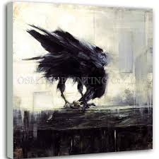 <b>Professional Artist Hand painted</b> High Quality Abstract Crow Eating ...