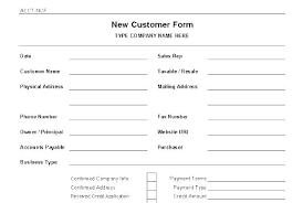 Printable Customer Information Form New Customer Account Form Printable Credit Application