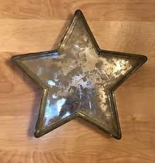 pottery barn antique mercury glass star jewelry catchall tray holder