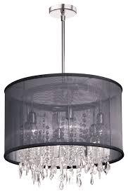 6 light crystal chandelier black organza drum shade