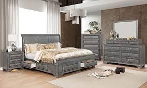 Amazon.com: Esofastore Brandt Bedroom Furniture Gray Finish Chestnut ...