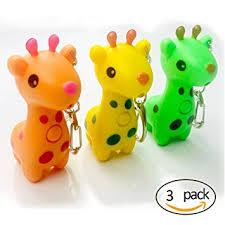 led cute giraffe keychains with sound flashlight cartoon child car bag 3 pack