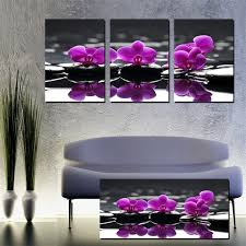 3 piece hot sell modern paintings purple orchid home decor flowers canvas pictures for living room on purple orchid wall art with 3 piece hot sell modern paintings purple orchid home decor flowers