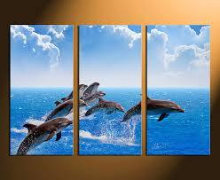 3 piece canvas wall art home decor blue sky art dolphin artwork  on dolphin canvas wall art with 3 piece canvas photography dolphin canvas wall art blue photo