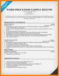 Word Processor Resume Kadil Carpentersdaughter Co