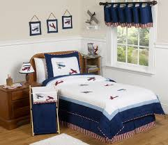 red white and blue vintage aviator airplane childrens bedding 3 pc full queen set only 119 99