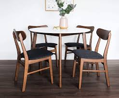 Rubberwood, microfiber fabric 5pc pedestal dining table & chairs set cappuccino finish table features round table top and single pedestal. Amazon Com Edloe Finch 5 Piece Round Dining Table Set For 4 White Top Furniture Decor