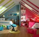 Дизайн детской комнаты фото в мансарде
