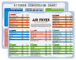 Fridge Magnets Air Fryer Cooking Times Conversion Chart