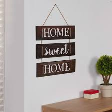wooden wall hanging sign rope inspirational home sweet home decorative accessory