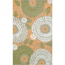 dandelion orange green white outdoor rug 8x10