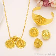 2019 valuable 24k real solid fine gold filled big twin pendant lovable smiling face wedding jewelry sets heavy luxurious bridal romantic women from