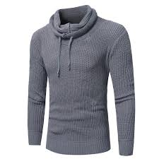 Men Fashion Solid Color Rope Pile Collar Slim Sweater Sale, Price ...
