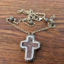 black druzy cross necklace with swarovski crystal