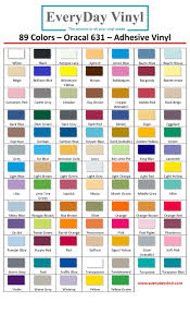 Color Chart Oracal 631 Chart Everyday Vinyl