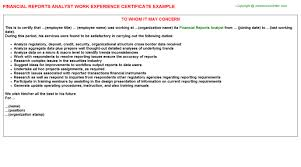 Financial Reports Analyst Work Experience Certificates Experience