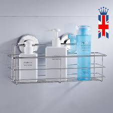 stainless steel rustproof bath shower suction caddy storage basket tidy uk