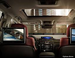 lx luxury suv technology com the available dual screen rear seat entertainment system enables two video sources to be viewed at the same time on lcd screens behind the front headrests