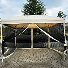 patio shade screen. Outdoor Gazebo Canopy 10\u0027 X Pop Up Tent Mesh Screen Patio Shade Tan T