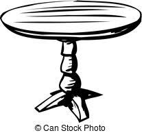 round table clipart black and white. outline of small table - single outlined sketch over. round clipart black and white