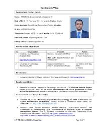 curicculum vitae curriculum vitae mr o amoroo feb 2015 mauritius