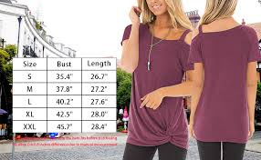 414b Pt Chart Fantastic Zone Womens Summer Casual Cold Shoulder Short Sleeve T Shirt Front Knot Twist Tunic Tops Blouses