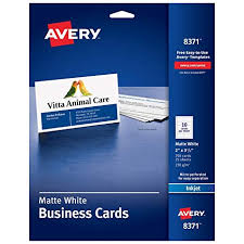 Avery Template Business Card 8371 Avery Printable Business Cards Inkjet Printers 250 Cards 2 X 3 5 8371 White