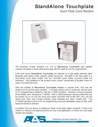 aas 65000 series stand alone touchplate card readers product brochures