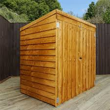 4 8 x 3 value wooden overlap pent mower shed with double doors 48hr
