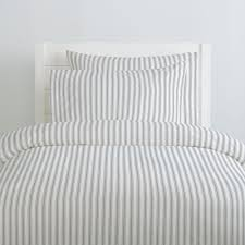 cloud gray ticking stripe duvet cover
