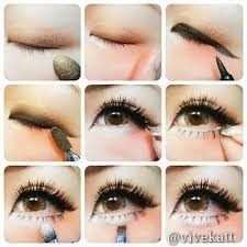 step by step guide on application of shading of eye make up and fake eye lashes sure makes eyes pop