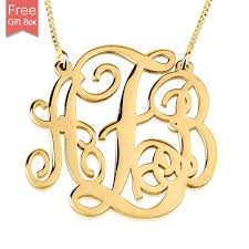 personalized gold plated monogram necklace