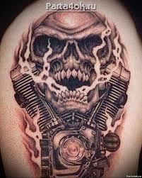байкерские татуировки на плече Moto Harley Tattoos Skull