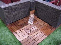 diamond floor tiles with wood tile material for patio installed with interlocks