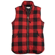 bro quilted zip up vest in red buffalo check