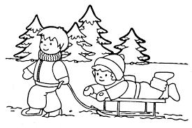 Small Picture Playing In Winter Coloring Pages For Girls Season Coloring pages