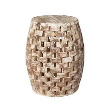 patio sense maya oval wood outdoor garden stool