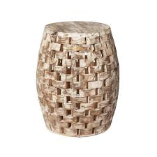 Patio Sense Maya Oval Wood Outdoor Garden Stool-62419 - The Home Depot