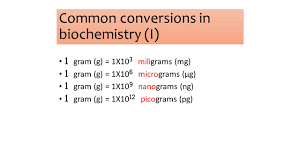 Mg To Grams Chart Common Conversions In Biochemistry I Ppt Video Online