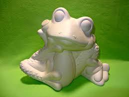 large unfinished ceramic bisque happy garden frog statue