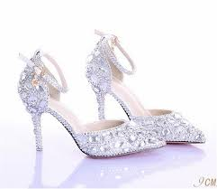 glass wedding shoes. summer fashion diamond bridal shoes white high with a word type strap glass slipper wedding