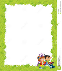 cartoon frame with children playing on playground toy stock