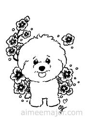 Schattig Bichon Frise Hond Puppy Kleurplaat Etsy