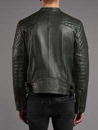 sceptre leather moto biker jacket in army grey