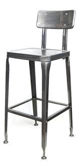 Industrial Metal Bar stool in Pewter Glossy