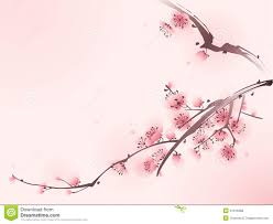 oriental style painting cherry blossom in spring tree vector