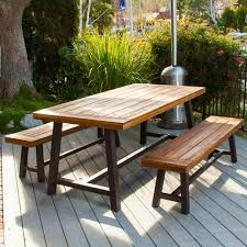 Carlisle rustic metal 3 piece wood rectangular outdoor dining set