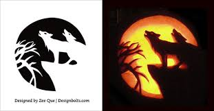 Wolf Free pumpkin Carving Stencil 2015