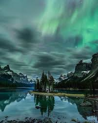 Northern Lights Jasper July Spirit Island Under The Northern Lights 2016 Jasper Dark Sky